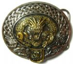 24ct. Gold and Silver Plated Nidhug Dragon Belt Buckle with display stand